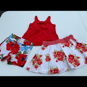 Janie and Jack red tank, floral shorts and skirt